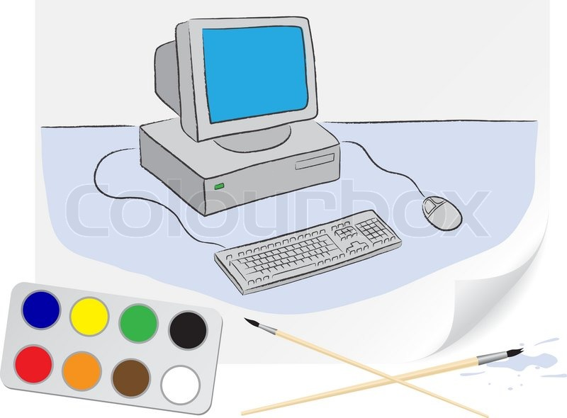 Kinder Zeichnung eines Computers einen Pinsel Farben auf Papier ...