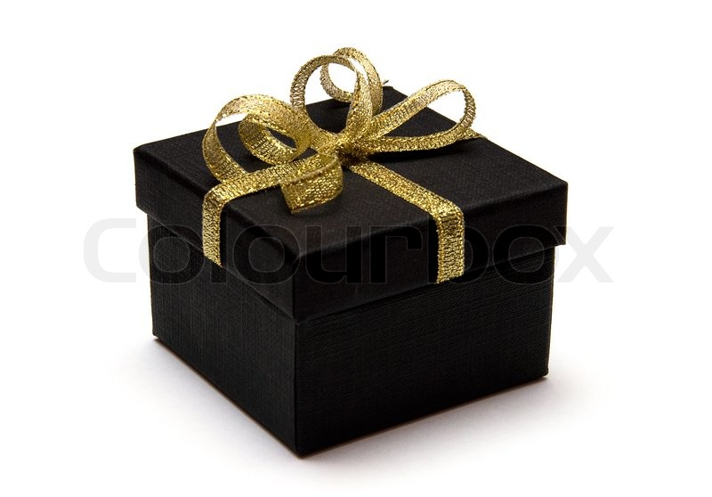 black gift box with gold ribbon isolated on white background stock