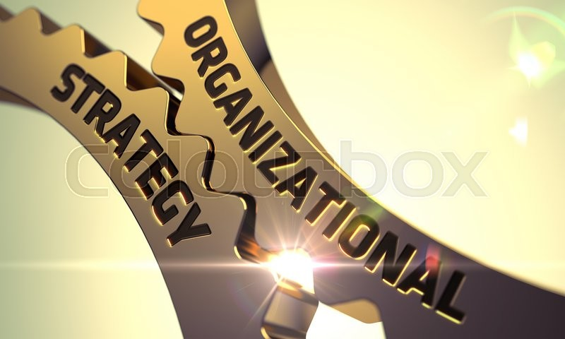 Stock image of 'Organizational Strategy - Industrial Design. Organizational Strategy on Mechanism of Golden Metallic Gears with Lens Flare. Organizational Strategy - Concept. 3D Render.'