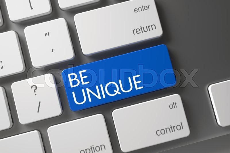 Stock image of 'Be Unique Concept Laptop Keyboard with Be Unique on Blue Enter Key Background, Selected Focus. Key Be Unique on Metallic Keyboard. Be Unique on Modern Keyboard Background. 3D.'
