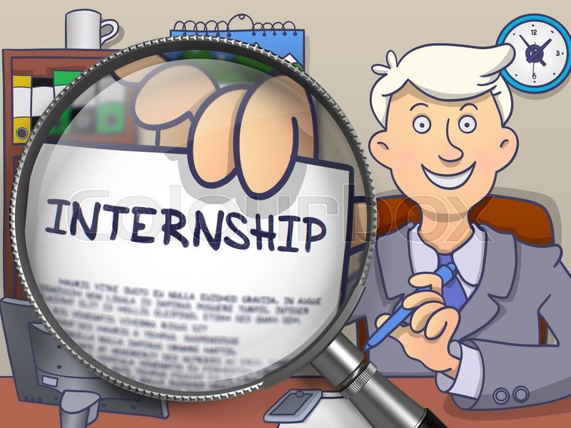 Stock image of 'Man Holding a Concept on Paper Internship. Closeup View through Magnifier. Colored Doodle Style Illustration.'