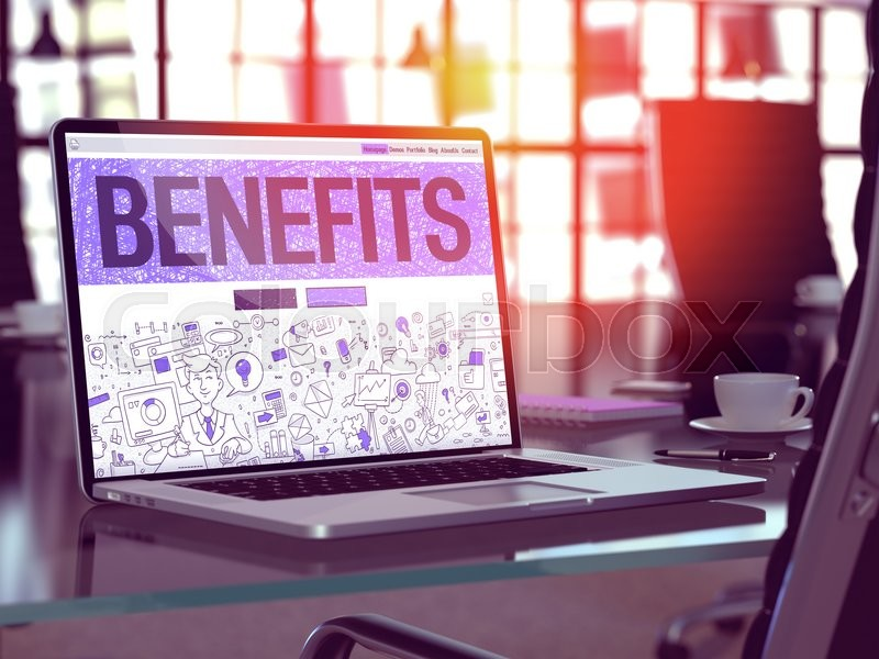 Stock image of 'Benefits Concept - Closeup on Landing Page of Laptop Screen in Modern Office Workplace. Toned Image with Selective Focus. 3D Render.'