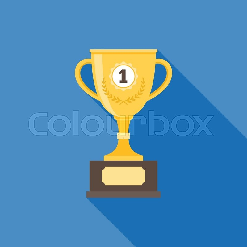 Gold Trophy Illustration Cup With Long Shadow Icon Flat Design Vector