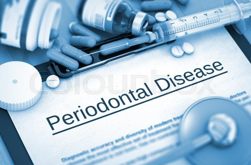 Stock image of 'Periodontal Disease, Medical Concept with Pills, Injections and Syringe. Periodontal Disease - Printed Diagnosis with Blurred Text. 3D.'