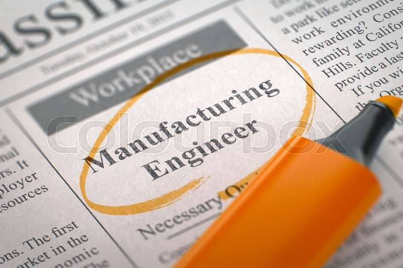 Stock image of 'Newspaper with Advertisements and Classifieds Ads for Vacancy Manufacturing Engineer. Blurred Image with Selective focus. Job Seeking Concept. 3D Illustration.'