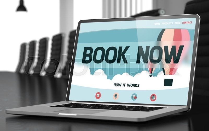 Stock image of 'Book Now - Landing Page with Inscription on Mobile Computer Display on Background of Comfortable Meeting Room in Modern Office. Closeup View. Toned Image with Selective Focus. 3D Render.'