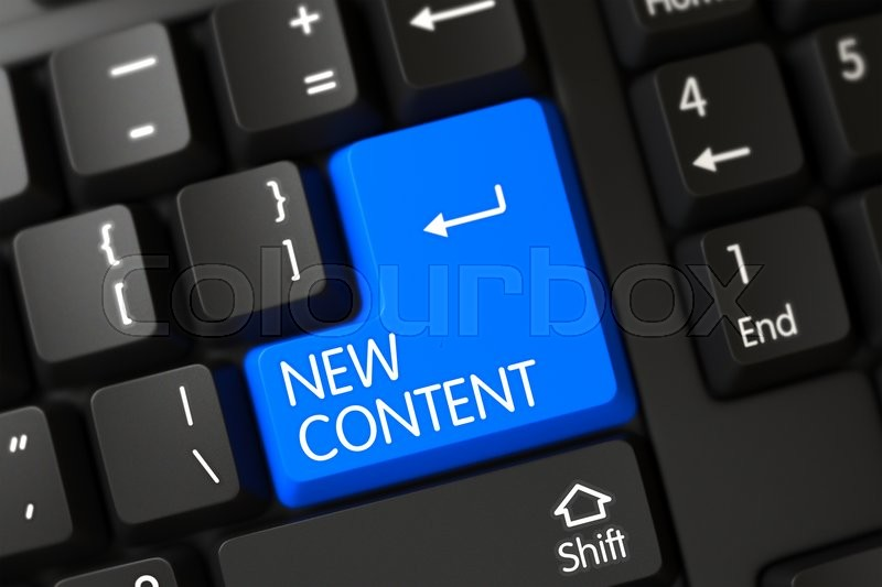 Stock image of 'Blue New Content Button on Keyboard. New Content Close Up of Black Keyboard on a Modern Laptop. Concepts of New Content, with a New Content on Blue Enter Key on Modernized Keyboard. 3D.'