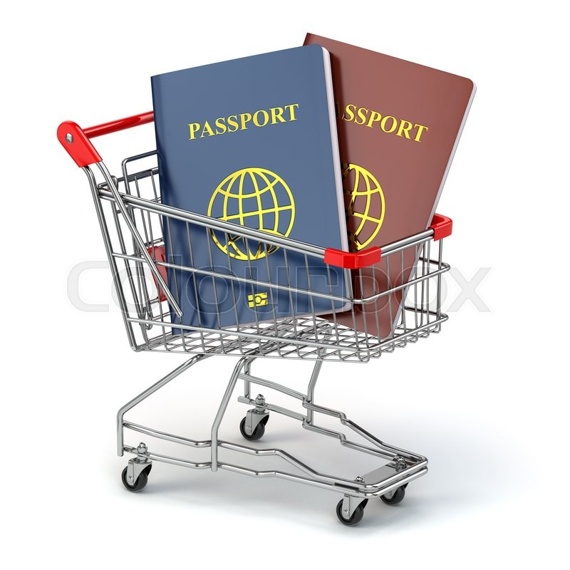 Stock image of 'Passports in shopping cart. Paperwork to emigrate. 3d'