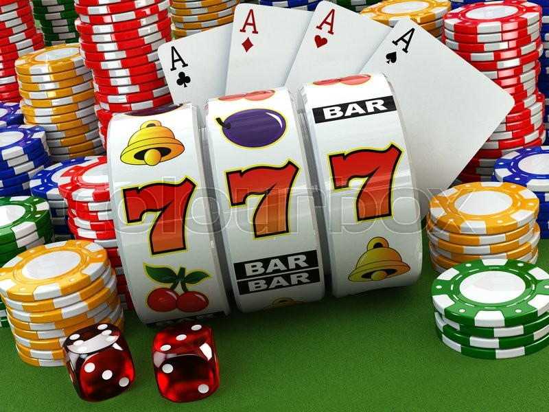 Stock image of 'Casino concept. Jackpot. Poker cards, chips and dice. 3d'