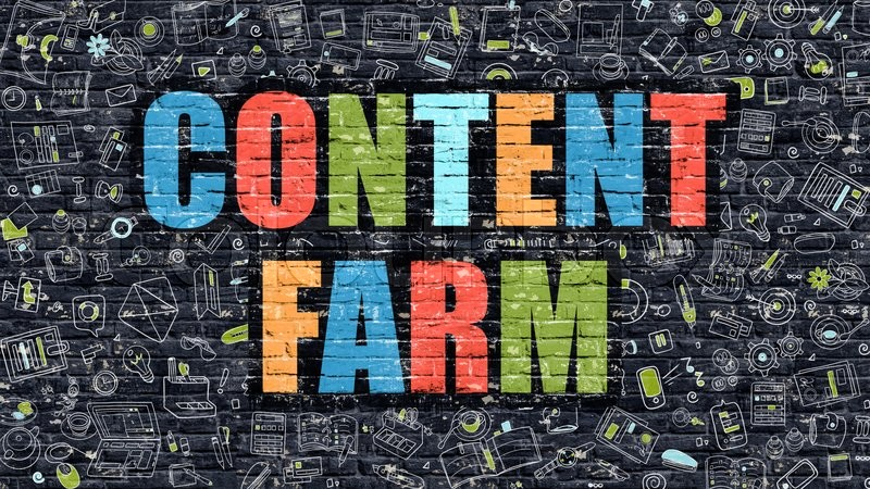 Stock image of 'Content Farm. Multicolor Inscription on Dark Brick Wall with Doodle Icons. Content Farm Concept in Modern Style. Doodle Design Icons. Content Farm on Dark Brickwall Background.'