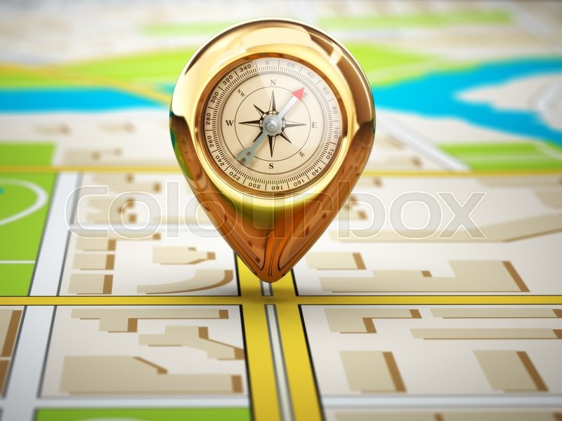 Stock image of 'Navigation concept. Pin with compass on the city map. 3d'