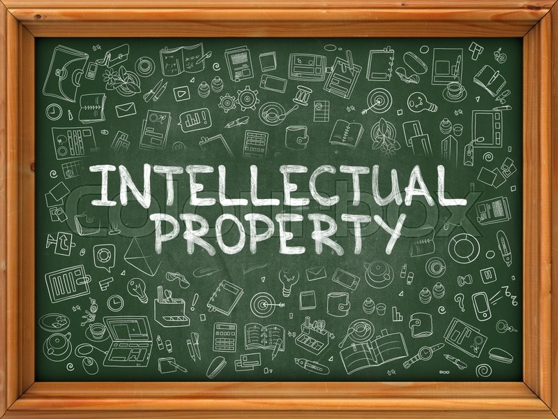 Stock image of 'Intellectual Property - Hand Drawn on Chalkboard. Intellectual Property with Doodle Icons Around.'