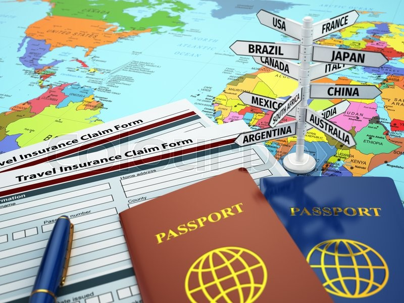 Stock image of 'Travel insurance application form, passport and sign of destination on the map. DOF effect. 3d'