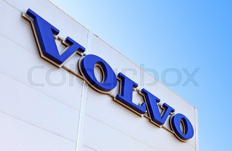 Editorial image of 'SAMARA, RUSSIA - MAY 29, 2016: Volvo dealership sign against the blue sky. Volvo is a Swedish multinational automaker company headquartered in Gothenburg, Sweden'