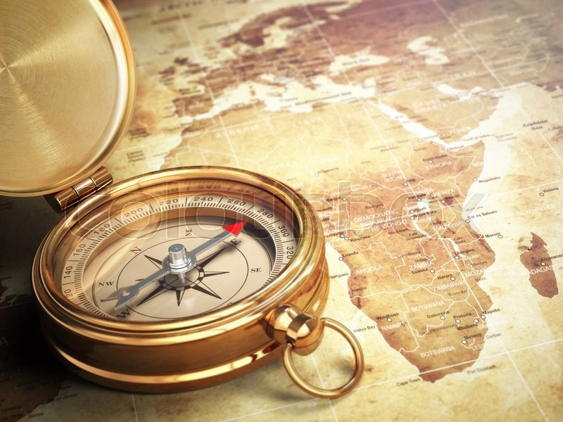Stock image of 'Vintage compass on the old world map with DOF effect. Travel concept. 3d'