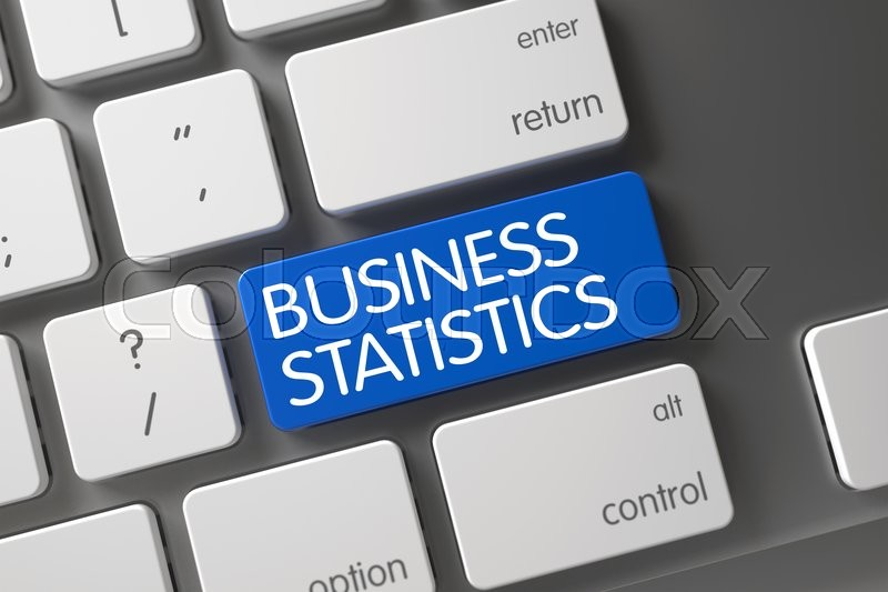 Stock image of 'Business Statistics CloseUp of Modern Keyboard on Laptop. Concept of Business Statistics, with Business Statistics on Blue Enter Button on Laptop Keyboard. 3D.'