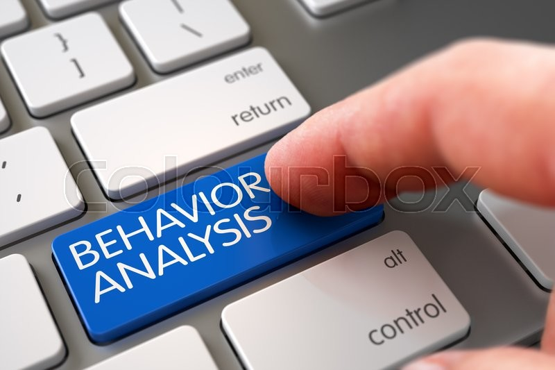 Stock image of 'Hand Touching Behavior Analysis Key. Behavior Analysis - Slim Aluminum Keyboard Key. Behavior Analysis Concept - Computer Keyboard with Behavior Analysis Key. 3D Illustration.'