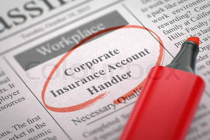 Stock image of 'Corporate Insurance Account Handler - Jobs in Newspaper, Circled with a Red Marker. Blurred Image. Selective focus. Job Search Concept. 3D Illustration.'