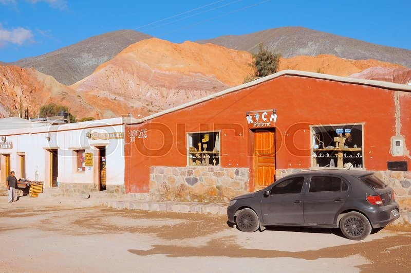 Editorial image of 'On the streets of Purmamarca town in the province of Jujuy. Argentina.'