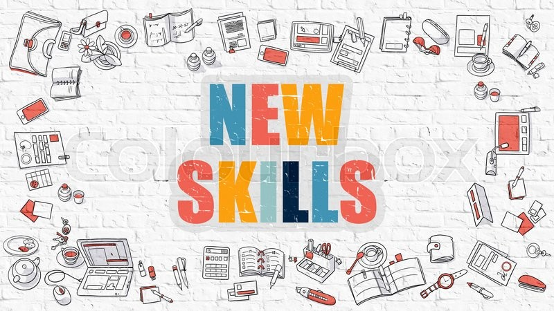 Stock image of 'New Skills Concept. New Skills Drawn on White Wall. New Skills in Multicolor. Doodle Design. Modern Style Illustration. Doodle Design Style of New Skills. Line Style Illustration. White Brick Wall.'