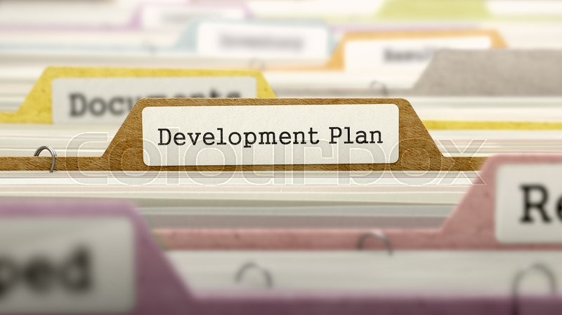 Stock image of 'Development Plan Concept on File Label in Multicolor Card Index. Closeup View. Selective Focus. 3D Render. '