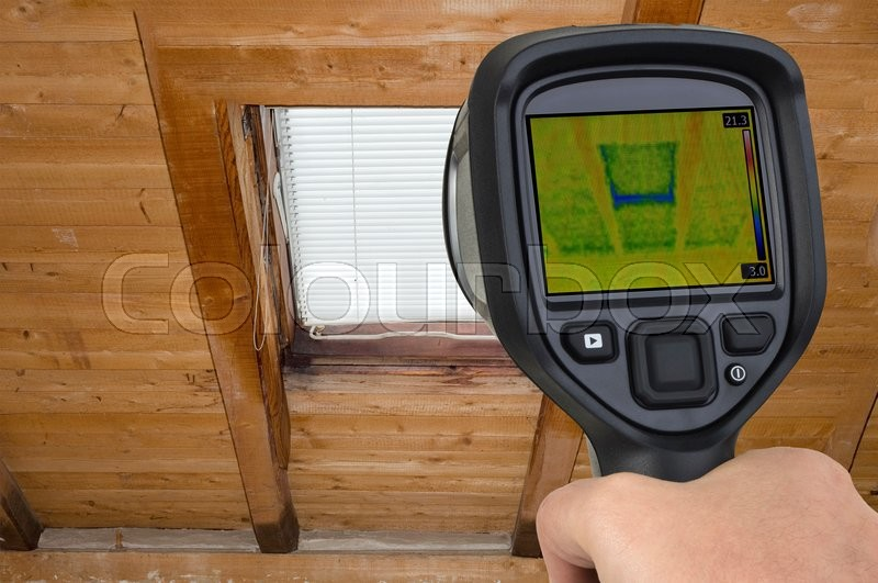 Stock image of 'Attic Window Thermal Leak Permeability'