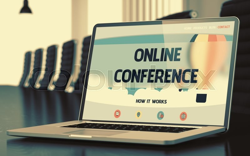 Stock image of 'Online Conference. Closeup Landing Page on Mobile Computer Screen. Modern Meeting Hall Background. Blurred Image. Selective focus. 3D.'
