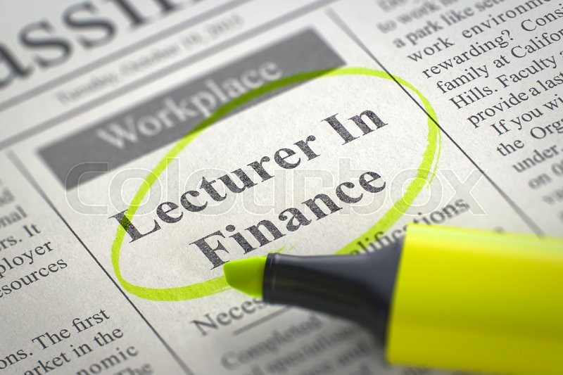 Stock image of 'Lecturer In Finance - Advertisements and Classifieds Ads for Vacancy in Newspaper, Circled with a Yellow Highlighter. Blurred Image. Selective focus. Concept of Recruitment. 3D Render.'