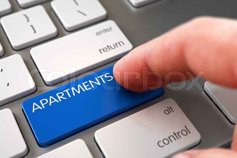 Stock image of 'Man Finger Pressing Apartments Keypad on Aluminum Keyboard. Hand Pushing Apartments Blue Aluminum Keyboard Button. Business Concept - Male Finger Pointing Apartments Key on Metallic Keyboard. 3D.'