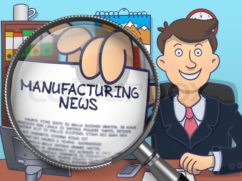 Stock image of 'Officeman Showing Concept on Paper Manufacturing News. Closeup View through Magnifying Glass. Colored Doodle Illustration.'