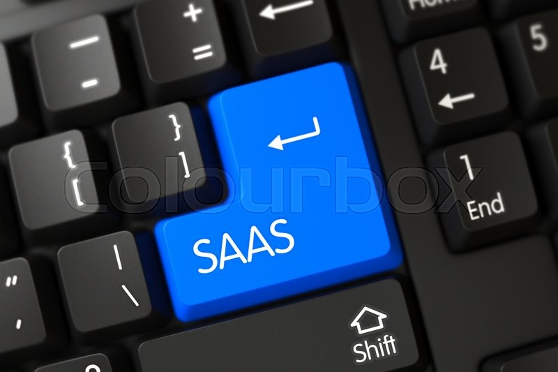 Stock image of 'A Keyboard with Blue Button - Saas. Concepts of Saas, with a Saas on Blue Enter Keypad on Modernized Keyboard. Modern Laptop Keyboard Key Labeled Saas. Blue Saas Button on Keyboard. 3D Illustration.'