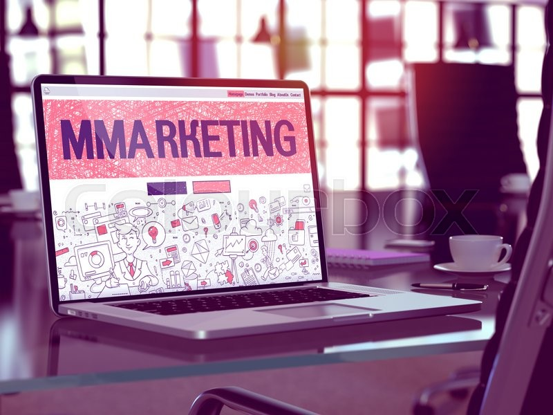 Stock image of 'Mmarketing - Closeup Landing Page in Doodle Design Style on Laptop Screen. On Background of Comfortable Working Place in Modern Office. Toned, Blurred Image. 3D Render.'