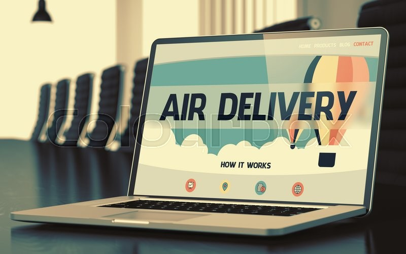 Stock image of 'Air Delivery - Landing Page with Inscription on Laptop Display on Background of Comfortable Conference Hall in Modern Office. Closeup View. Toned Image. Selective Focus. 3D Render.'