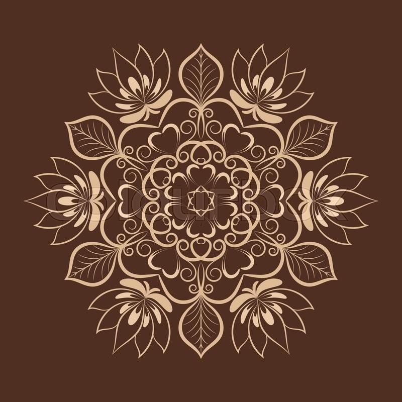 Stock Vector Of Coffee Color Flower Mandala Over Dark Brown Invitation Element