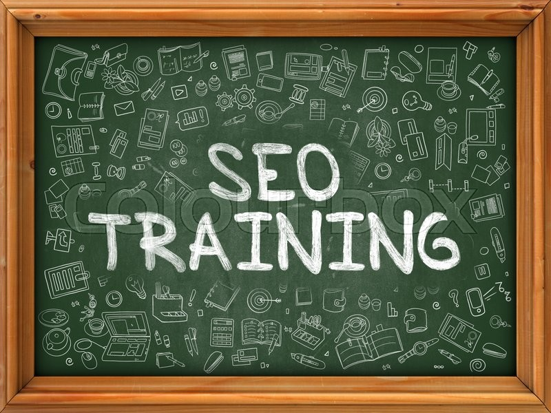 Stock image of 'SEO - Search Engine Optimization - Training Concept. Modern Line Style Illustration. SEO Training Handwritten on Green Chalkboard with Doodle Icons Around. Doodle Design Style of SEO Training Concept.'