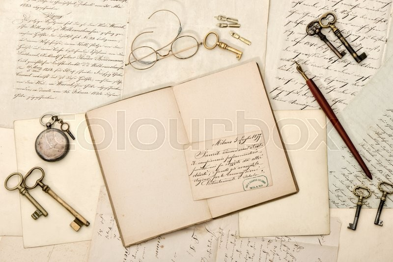 Stock image of 'Open book, old letters, antique accessories. Nostalgic vintage style background'