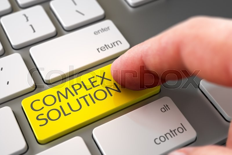 Stock image of 'Hand Finger Press Complex Solution Button. Complex Solution - Laptop Keyboard Concept. Selective Focus on the Complex Solution Key. White Keyboard with Complex Solution Yellow Keypad. 3D.'