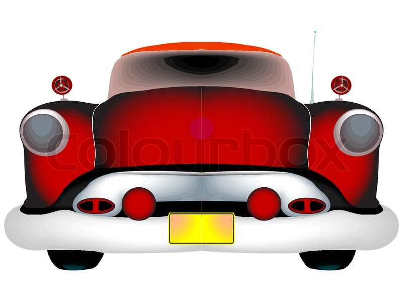 Red Classic Car Against White Background Abstract Art