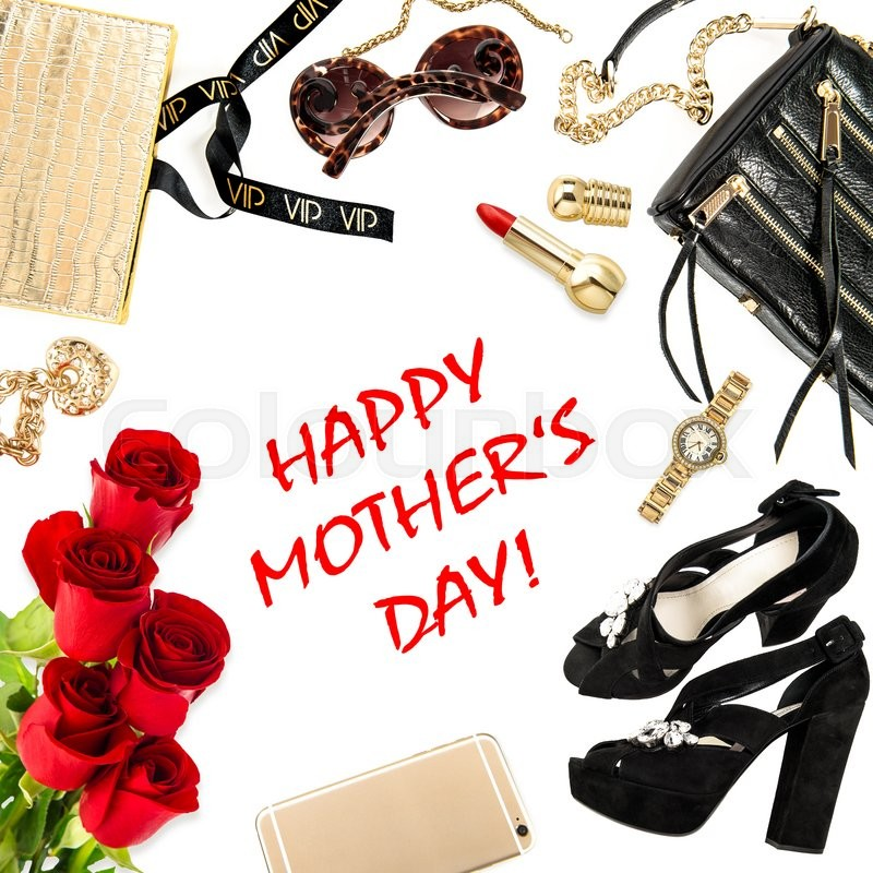 Stock image of 'Fashion lady accessories, cosmetics, shoes, mobile phone, jewelry and rose flowers. Happy Mothers day! Holidays concept'