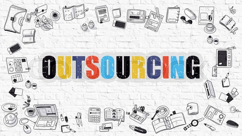 Stock image of 'Multicolor Concept - Outsourcing - on White Brick Wall with Doodle Icons Around. Modern Illustration with Doodle Design Style.'