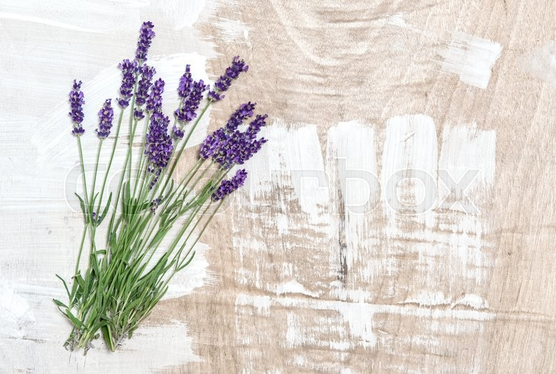 Lavender Flowers On Rustic Wooden Background Fresh Blossoms Shabby Chic