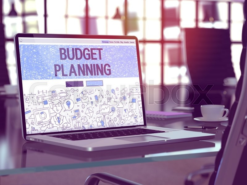 Stock image of 'Budget Planning Concept Closeup on Landing Page of Laptop Screen in Modern Office Workplace. Toned Image with Selective Focus. 3D Render.'
