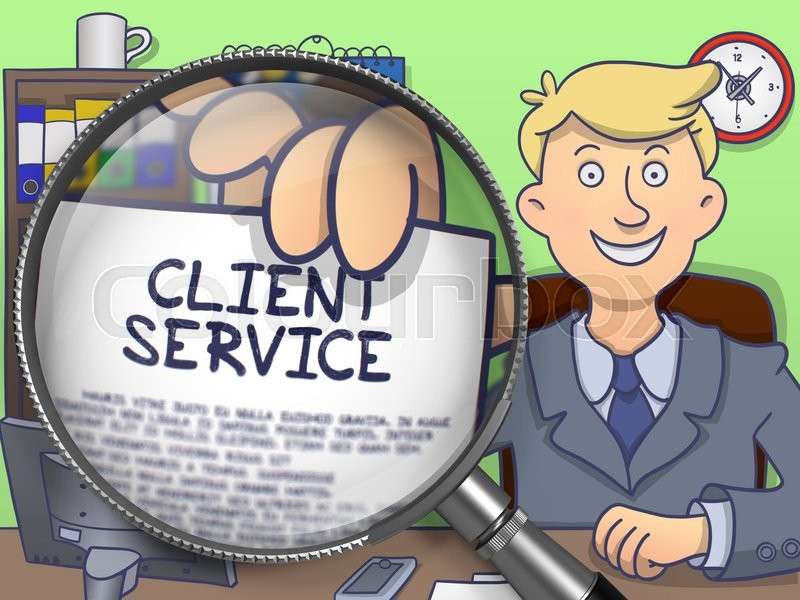 Stock image of 'Client Service on Paper in Businessman's Hand to Illustrate a Business Concept. Closeup View through Magnifying Glass. Colored Doodle Style Illustration.'