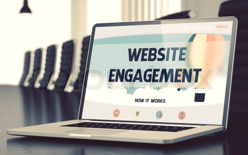 Stock image of 'Website Engagement. Closeup Landing Page on Laptop Display. Modern Meeting Room Background. Toned Image with Selective Focus. 3D Render.'
