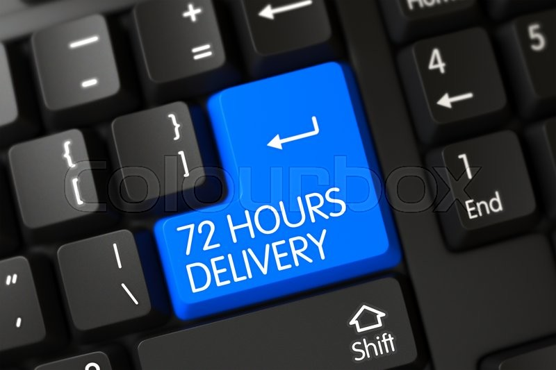 Stock image of '72 Hours Delivery Concept: Modern Laptop Keyboard with 72 Hours Delivery, Selected Focus on Blue Enter Key. Modern Laptop Keyboard with the words 72 Hours Delivery on Blue Key. 3D Illustration.'