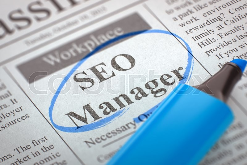 Stock image of 'SEO Manager - Vacancy in Newspaper, Circled with a Blue Marker. Blurred Image. Selective focus. Job Search Concept. 3D.'