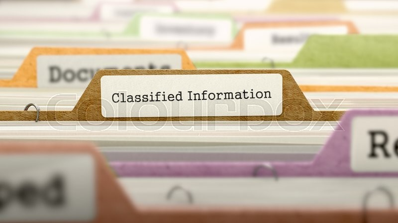 Stock image of 'Classified Information Concept on Folder Register in Multicolor Card Index. Closeup View. Selective Focus. 3D Render.'