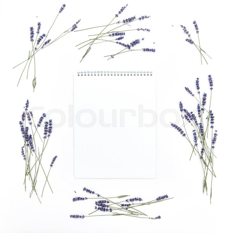 Stock image of 'Lavender flowers and empty sketchbook. Floral frame from dried plants. Flat lay background'