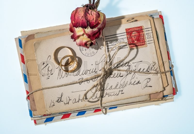 Stock image of 'old love letters in a bunch. remembering the great love long ago.'