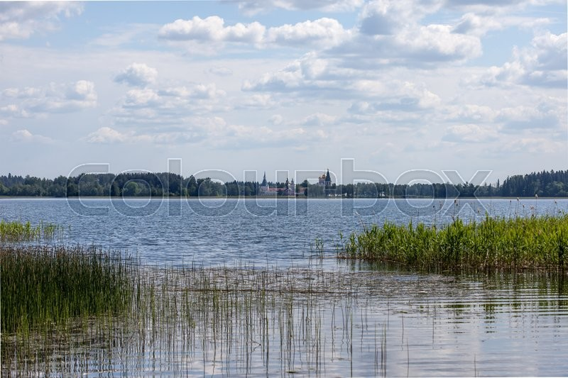Stock image of 'Lake Valdai and Iversky monastery in the distance. Russia'